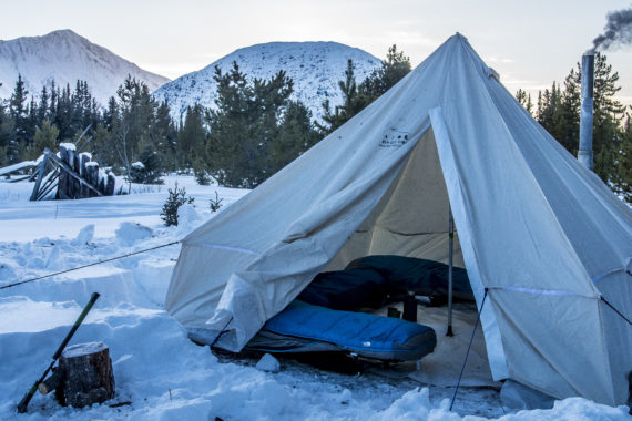 Warm wood heated tent