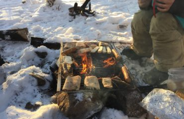 Lunch over the campfire